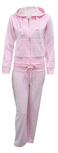 Kids Girls Full Tracksuit Velour Hoodie and Jogging Pants Drawstring Zipper Joggers Sport Gym 2 Piece Tracksuit Set 7-13 Baby Pink