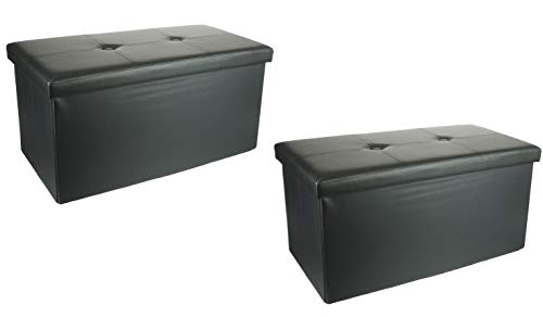 2 Pack Unity Signature Home Collection Premium 15 x 30 x 15 inch Foldable Storage Ottoman Leather Black