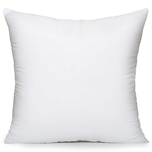 "Acanva Hypoallergenic Pillow Insert Form Square Cushion Euro Sham, 16"" x 16"", White"