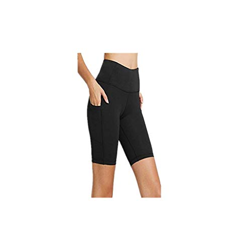 Shusuen Women's High Waist Workout Yoga Running Compression Shorts Tummy Control Side Pockets -