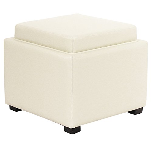 New Pacific Direct Cameron Square Leather Ottoman with Tray,Black Legs,Beige