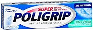 Super Poligrip Denture Adhesive Cream Ultra Fresh Minty Flavor - 1.4 oz, Pack of 3