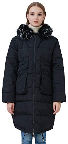 (fashciaga Women's Faux Fur Hood Winter Quilted Coat Puffer Lightweight Down Jacket Black Large)
