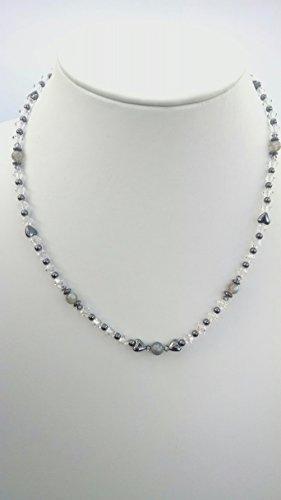 Labradorite, Hematite heart necklace and cluster earring set (Heart Labradorite Earrings)
