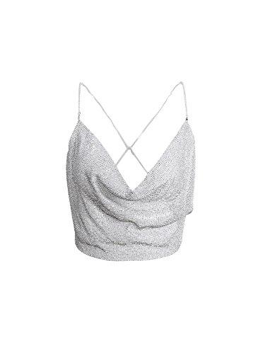 Simplee Apparel Las mujeres cabestro espaguetis correa de Backless Clubwear top chaleco de lentejuelas fiesta paillette Silver 1