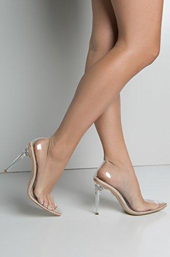 Heel Toe Pumps Pointed Wang Through Sexy Azalea Cinderella Clear Dress Nude High Shoes Wedding See Transparent vwn0q4