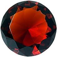 100 mm Dark Orange Diamond Shaped Crystal Jewel Paperweight by Tripact - 06