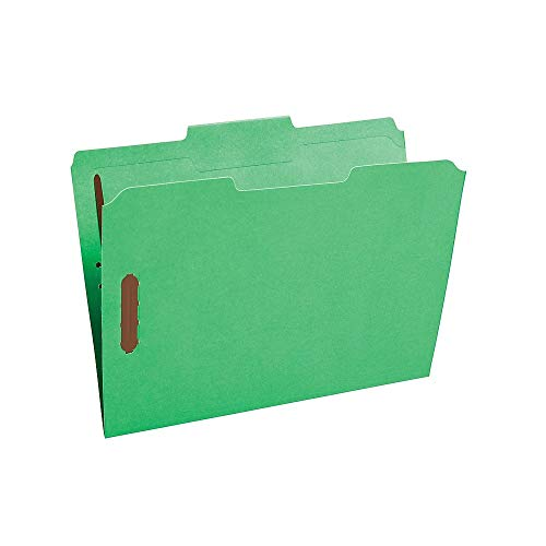 (Staples 807795 Colored Reinforced Tab Fastener Folders Letter Size Green 50/Box)