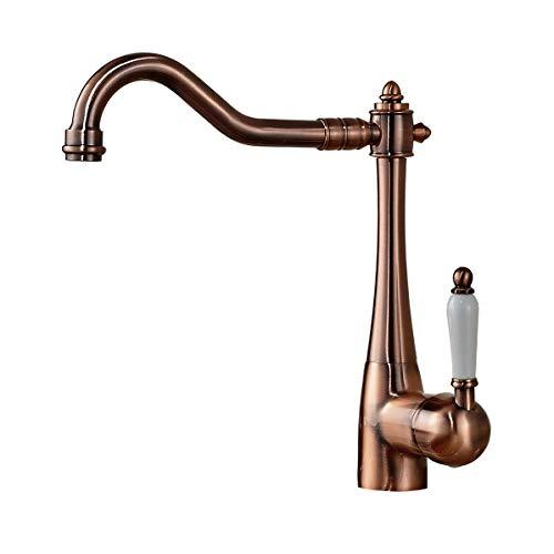 Kitchen Copper Single Sink - Rozin Antique Copper Single Lever Kitchen Sink Faucet Swivel Spout Mixer Tap