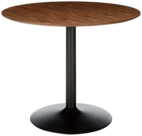 - Montoya Round Dining Table with Metal Base Walnut and Black