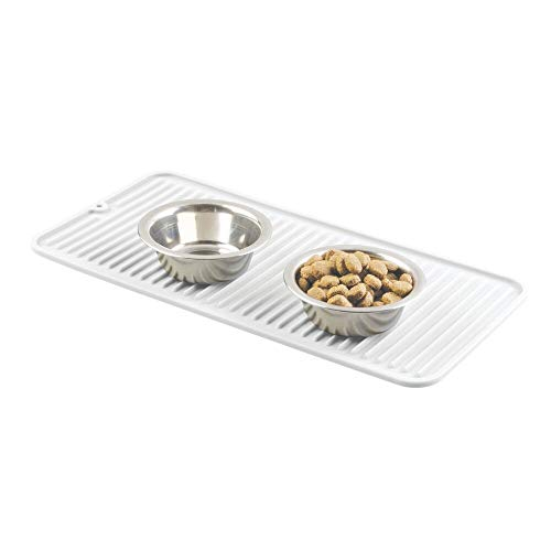 mDesign Premium Quality Pet Food and Water Bowl Feeding Mat for Dogs and Puppies – Waterproof Non-Slip Durable Silicone Placemat – Food Safe, Non-Toxic – Small – White
