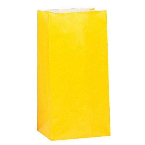 U-nique Bright Yellow Paper Party Favor Bags, 12 Count (3 -