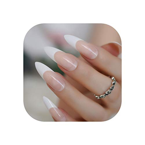 Long French Nail Extreme Sharp Gradient Nude White