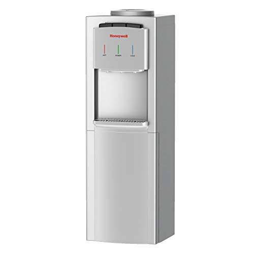 Honeywell HWB1033S2 Top Loading Dispenser-3 Temperature Settings-Hot, Cold & Room Water Cooler with Cabinet, Holds 3 or 5 Gallon Bottles, Innovative Slim Design, 41-Inch, Silver