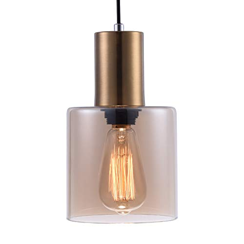 Modern Kitchen Pendant Light with Hand Blown Amber Glass Shade, Adjustable Vintage Edison Mini Pendant Lighting for Kitchen Island Bedroom Dining Room Bar Cafe,Brushed Brass Finish