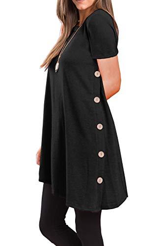 - iGENJUN Women's Short Sleeve Scoop Neck Button Side Tunic Tops,M,Black