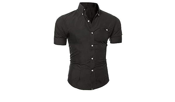 Jamais-Vu Mens Shirt Short Sleeve Shirt Mens Casual Button Down Shirts Mens Fashion Shirt,Preto,XL