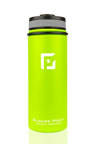 Glacier Point Vacuum Insulated Water Bottle (18oz / 32oz) Wide Mouth with Bonus Sports Lid (Green, 18 OZ)