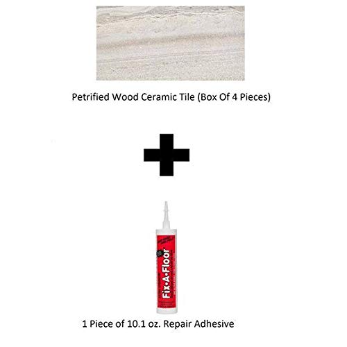 Tile Patching Ceramic (B HOME Petrified Wood Ceramic Tile (Box of 4 Pieces) with 10.1 oz. Repair Adhesive)