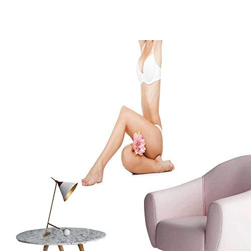 SeptSonne Wall Decals Female Body White p Ties Pink Flower Long Leg Environmental Protection Vinyl,20