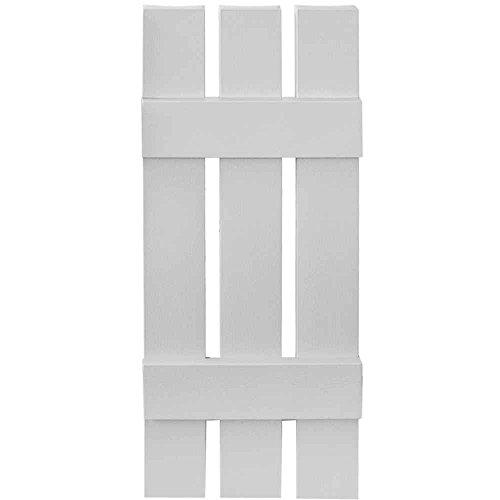 Builders Edge 12 in. x 43 in. Board-N-Batten Shutters Pair, Three Boards Spaced #030 Paintable by Builders Edge