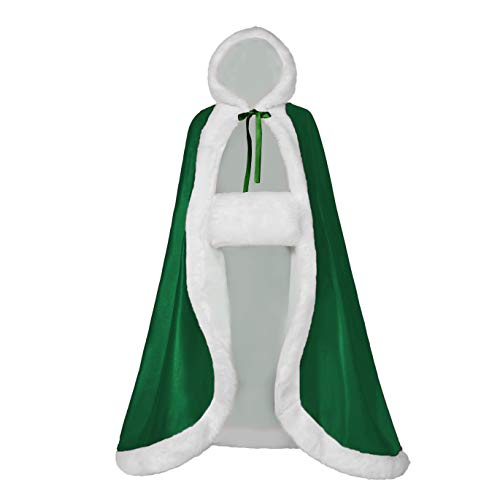Full Length Wedding Cape Hooded Cloak for Women. Perfect for Winter, Bridal, Costume, Party, or Fashionable Fun. Reversible with Fur Trim, Hood & BONUS Hand Muff, Moss Green ()
