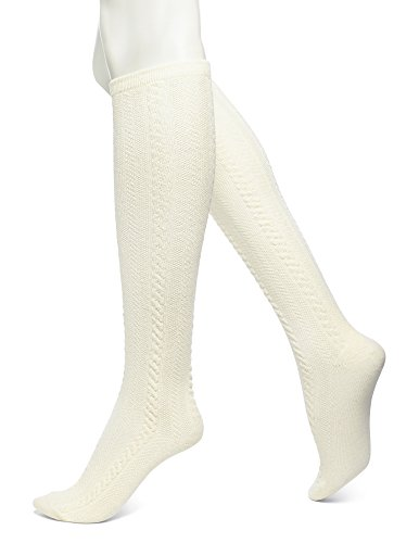 No Nonsense Women's Cable Knee High Sock, Pearl, One Size