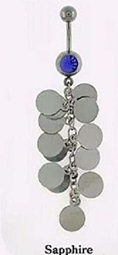 Melonie Home Piercing - Curved Barbell with Circle Chain Drop Clear Or Blue Body Jewelry