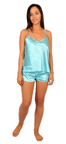 Silk Cami Set - Cami Sets, Five Color Choices, Sizes (S, M, L), Up2date Fashion Style#CamRG (Medium, Aqua)