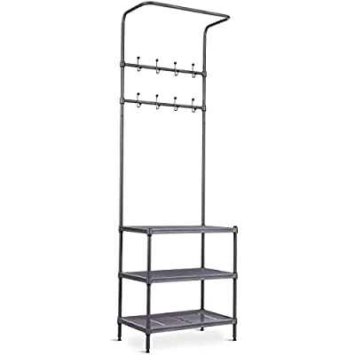 Tangkula Entryway Hall Tree Multi-Purpose Metal Coat and Shoe Bench Rack 3-Tier Storage Shelves Bag Clothes Umbrella and Hat Rack for Entryway Corner Hallway Garment Rack (8 Hooks) - 👕【 Sturdy and Durable Structure】 Constructed with high quality and anti-rust steel tubes, an all metal frame effortlessly supports whatever you store, offers you long-term and stable organization and is less likely to bend or warp during shipping or use. 👕【Multi-purpose Organizer】 2-in-1 design makes the coat rack (8 hooks ) and shoe rack (3-tier shelves at the bottom) available in just this hall tree while each shelf holds up to 11 lbs. of evenly distributed weight. 👕【Smart and Large Storage】 You can keep your shoes on the shoe rack, set your bags, backpacks, purses on the wood surface bench and hang your coats and handbags on the hook-rail with much space and hassle free - hall-trees, entryway-furniture-decor, entryway-laundry-room - 31QV%2BS9PyEL. SS400  -