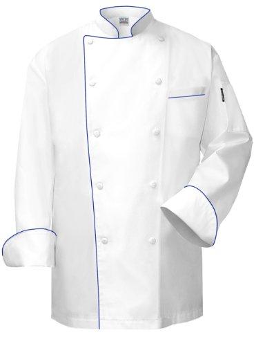 Newchef Fashion VIP White Chef Coat with Royal Blue Trim VIP Pocket XL White by Newchef Fashion