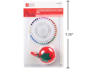 Sewing 40 Premium Multicolor Straight Pins with Pin Cushion for Quilting Round Pearl Headed Sewing Pins Dressmaking DIY Crafts