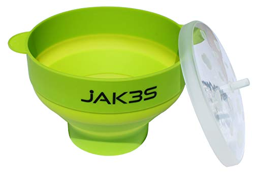 Jak3s Microwave Popcorn Popper Bowl for the Home.Safe alternative to Microwave Popcorn Bags & Air Poppers. BPA Free Silicone. Requires No Oil. Collapsible for Easy Storage. Convenient Handles and Lid.