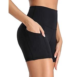 Oalka Women's Short Yoga Side Pockets High Waist Workout Running Sports Shorts 4″