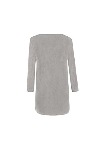 La Mujer Casual Long Sleeve Scoop Neck Side Zip Up Loose Knit Cardigan Sueter Outwear Grey