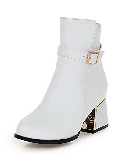 AmoonyFashion Womens Low-Top Solid Zipper Closed Round Toe Kitten-Heels Boots White Eo6mvt