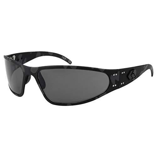 Gatorz Wraptor Black Cerakote Camo, Aluminum Frame Sunglasses - Made in The USA (Smoked Polarized ()
