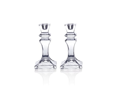 Mikasa Celebrations Crystal Candlestick, Set of 2, 6.25-Inch by Mikasa