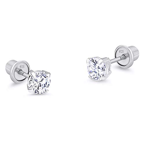 925 Sterling Silver Rhodium Plated 3mm Cubic Zirconia Stud Children Screwback Baby Girls Earrings