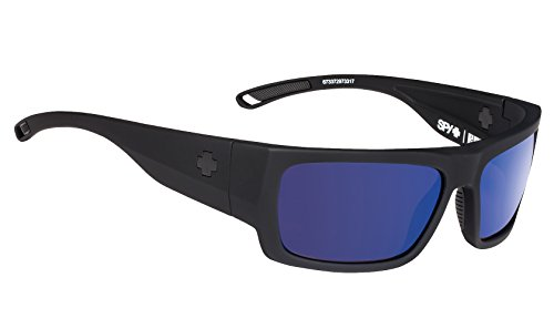 Spy Optic Rover Square Sunglasses, Soft Matte Black/Happy Gray/Green Polar/Dark Blue Spectra, 1.5 ()