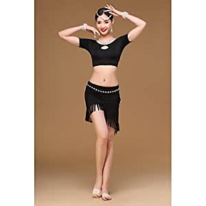 Belly Dance Outfits Training Modal Tassel(s) 2 Pieces Short Sleeve Dropped Top Skirt , one size