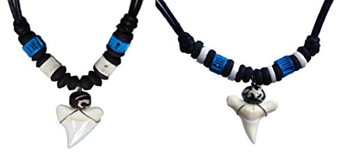 Exoticdream Real Shark Tooth Necklace Surfer Hawaiian Beach Boys Girls Men - Color White Bone (2 MIX BLUE)