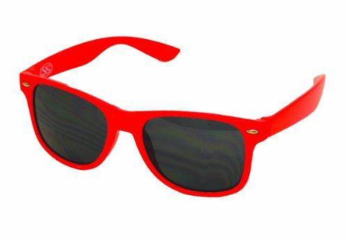 Wayfarer Style Sunglasses - 80's Classic Retro Style - Red Frame Black Lens