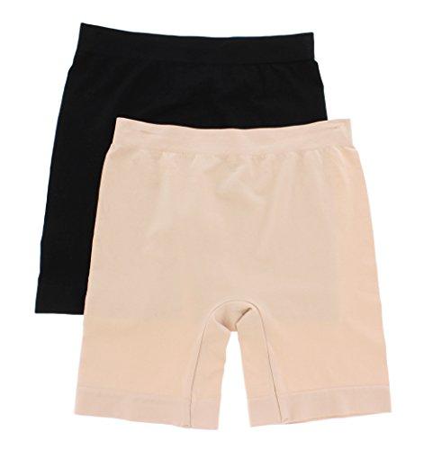 (Skinnygirl Smoother n' Shapers 2-Pack Seamless Slip Short (Black/Nude, Medium))