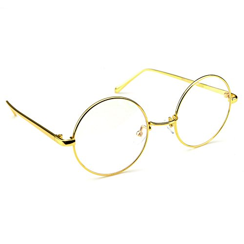 PenSee Circle Oversized Metal Eyeglasses Frame Inspired Horned Rim Clear Lens Glasses (Metal Eyeglasses)