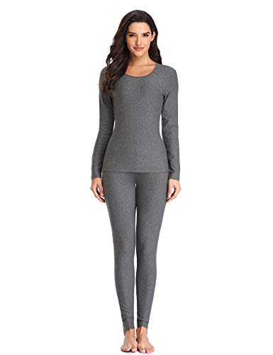 LALAVAVA Lusofie Cotton Thermal Underwear Set for Women Long Johns Base Layer Thermals (Grey, L)