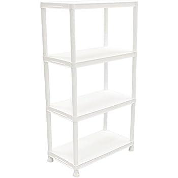 HDX 4-Shelf White Plastic Storage Shelving Unit   15 in. D x 28  sc 1 st  Amazon.com & Amazon.com: HDX 4-Shelf White Plastic Storage Shelving Unit   15 in ...