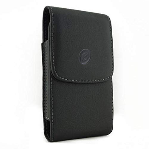 Black Vertical Leather Case Side Cover Pouch Belt Holster Swivel Clip for Simple Mobile Samsung Galaxy J3 Luna Pro - Sprint iPhone 6 - Sprint iPhone 6S