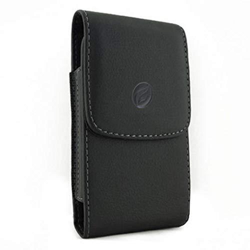 Black Leather Carry Case Side Cover Belt Holster Swivel Clip for BlackBerry Key2 - BlackBerry Key2 LE - BlackBerry KEYone ()
