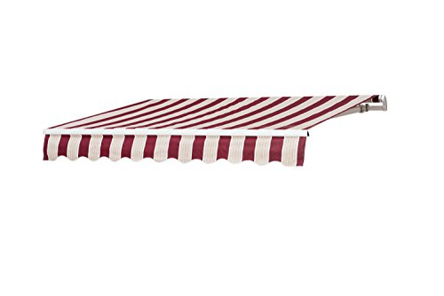 Sunjoy 8′ x 10′ Beauty-Mark Manual Retractable Awning - Red Stripe (Retractable Sunbrella Awnings)
